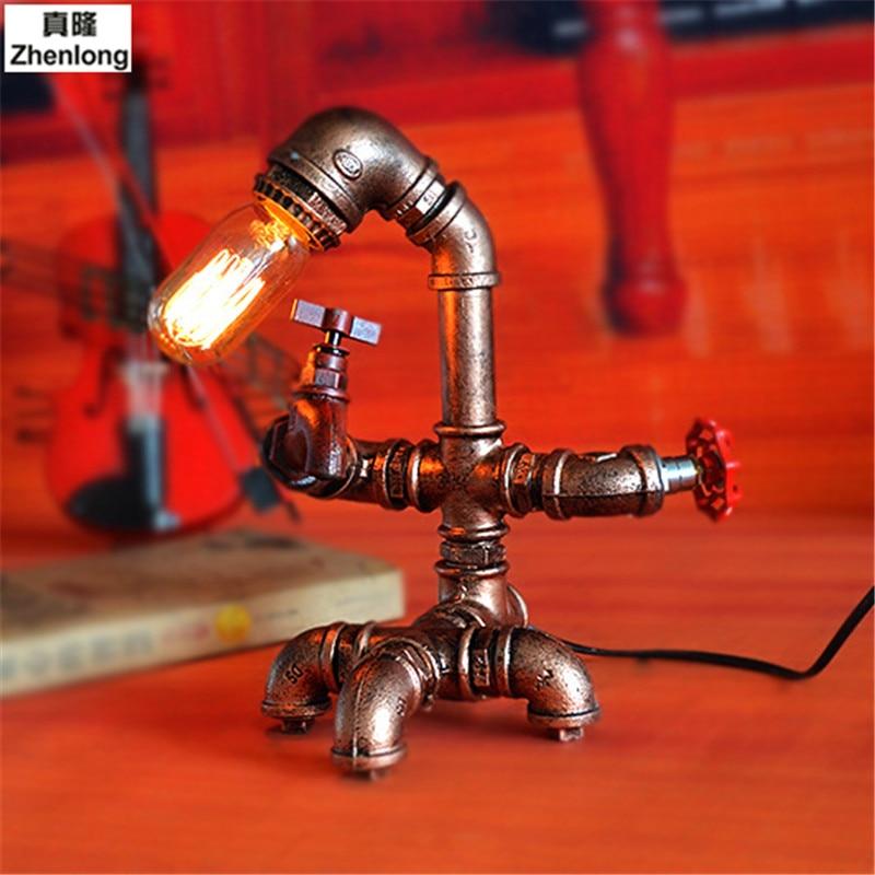 Retro Industriellen Wind E27 LED Edison Glühbirne Studie Bar Cafe Tischlampe Kreative Persönlichkeit Eisen Wasserleitung Schreibtischlampe Decor