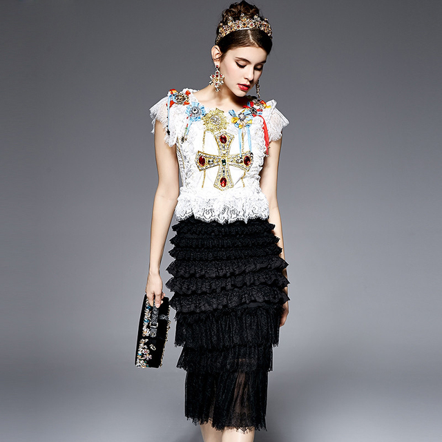 High Quality 2017 Designer Runway Suit Set Women's 2 Piece Noble Gold Line Beading Embroidery Tops + Sexy Lack Skirt Suit