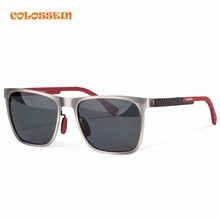 COLOSSEIN Orange Label Classic Fashion Men Sunglasses Metal Square Frame Polarized Lenses Gray and Blue New Style Men Glasses