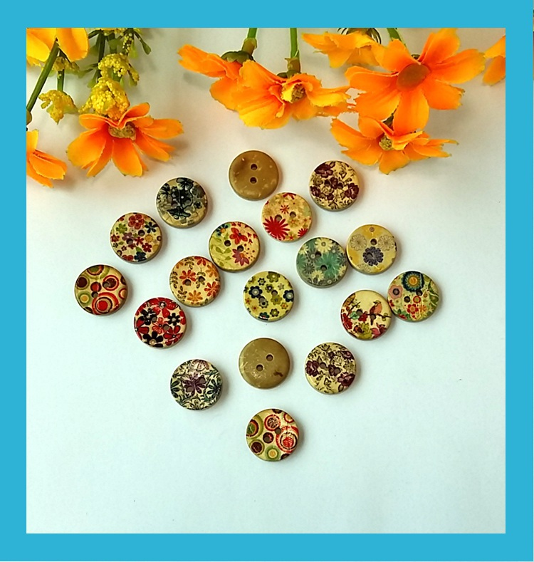 80pcs Printing Flowers Coconut Decorative Buttons For Craft Mixed To Sewing Accessories Scrapbooking Supplies