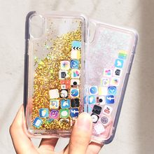 KISSCASE APP Icon Quicksand Case For iPhone 6 6S 7 8 Plus X XS Max XR Innovation Glitter Phone Cases