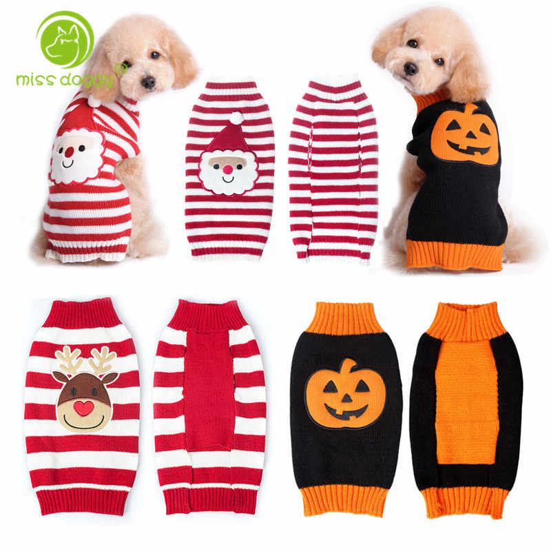 Dog Christmas Sweater.Dog Christmas Sweater Reindeer Santa Claus Pumpkin Festival Winter Warm Knit Clothes For Dogs Chihuahua Pet Apparel Costume