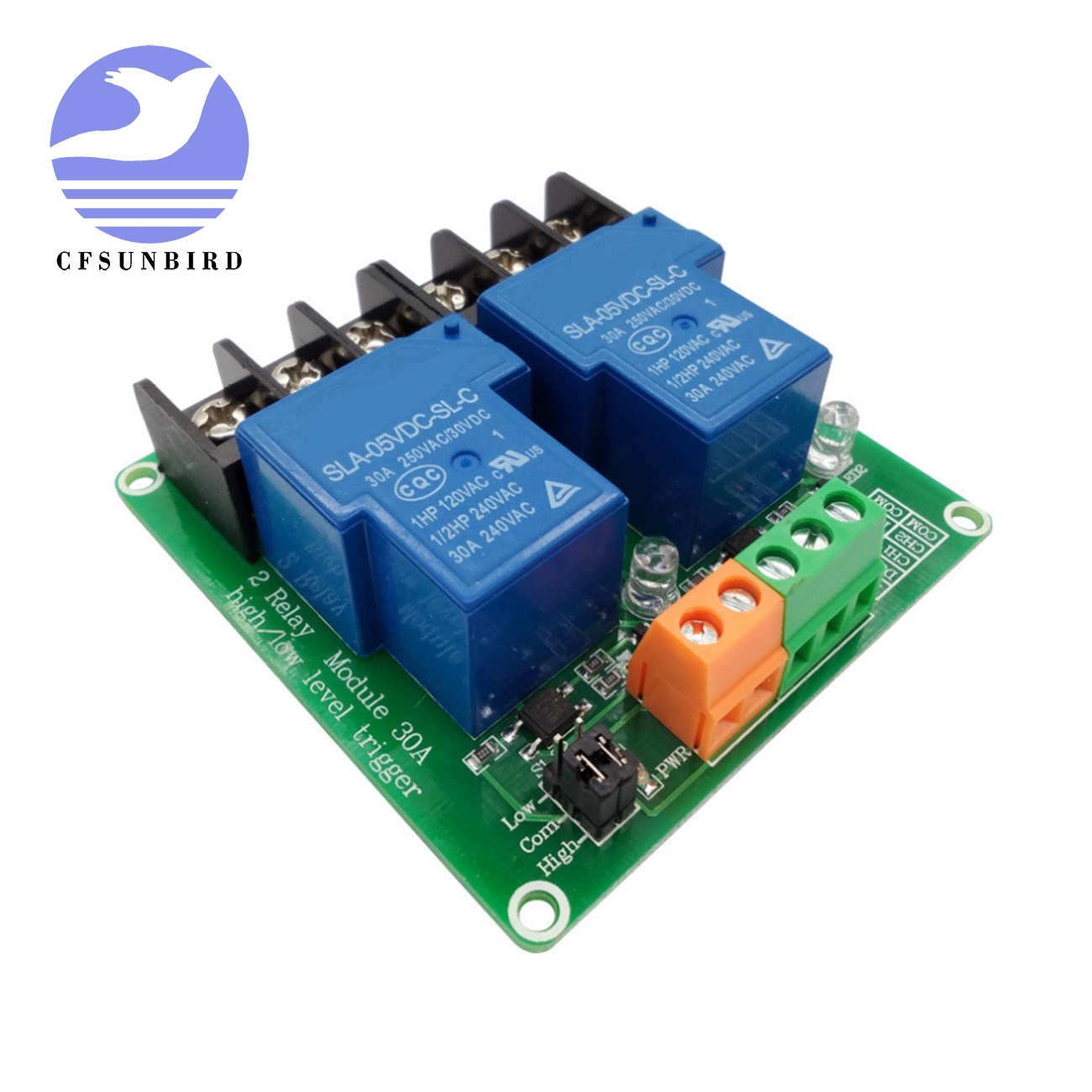 10PCS two 2 channel relay module 30A with optocoupler isolation 5V 12V 24V supports high and