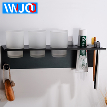 Toothbrush Holder Black Aluminum Bathroom Shelves Decorative Accessories Set With 3 Cup Wall Mounted