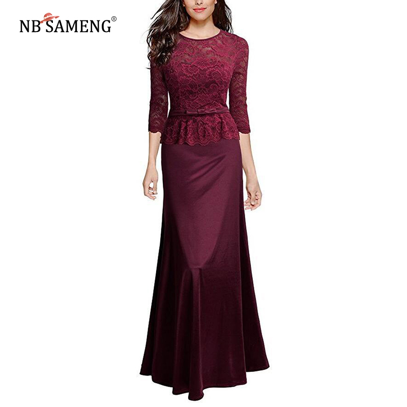 New Arrival 2018 Women Sexy Lace Dress Special Occasion Peplum Floor Length Evening Party Maxi Long Dresses Vestido Longo