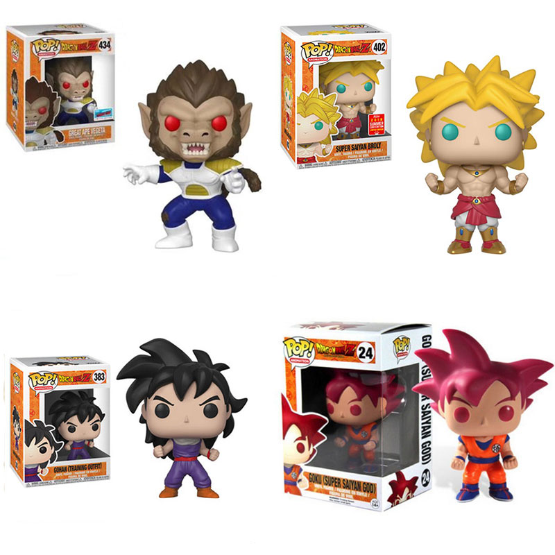 купить Funko Pop Official Dragon Ball Goku God Super Saiyan Broly Great Pea Vegeta Gohan Action Figure Collectible Model Toy Gifts по цене 761.42 рублей