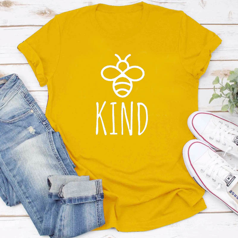 Be Kind Graphice Tee Shirt Women Cotton Oversized T-shirt Summer Fashion Bees Print Top Harajuku Tshirt Unisex Tee Drop Shipping
