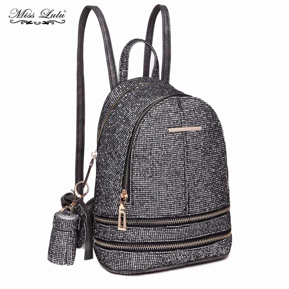 Detail Feedback Questions about Miss Lulu Women PU Leather Bling Studs  Glitter Backpacks Girls Small Mini Princess Shoulder Rucksack School Bags  Daypack ... de6af5366cc3