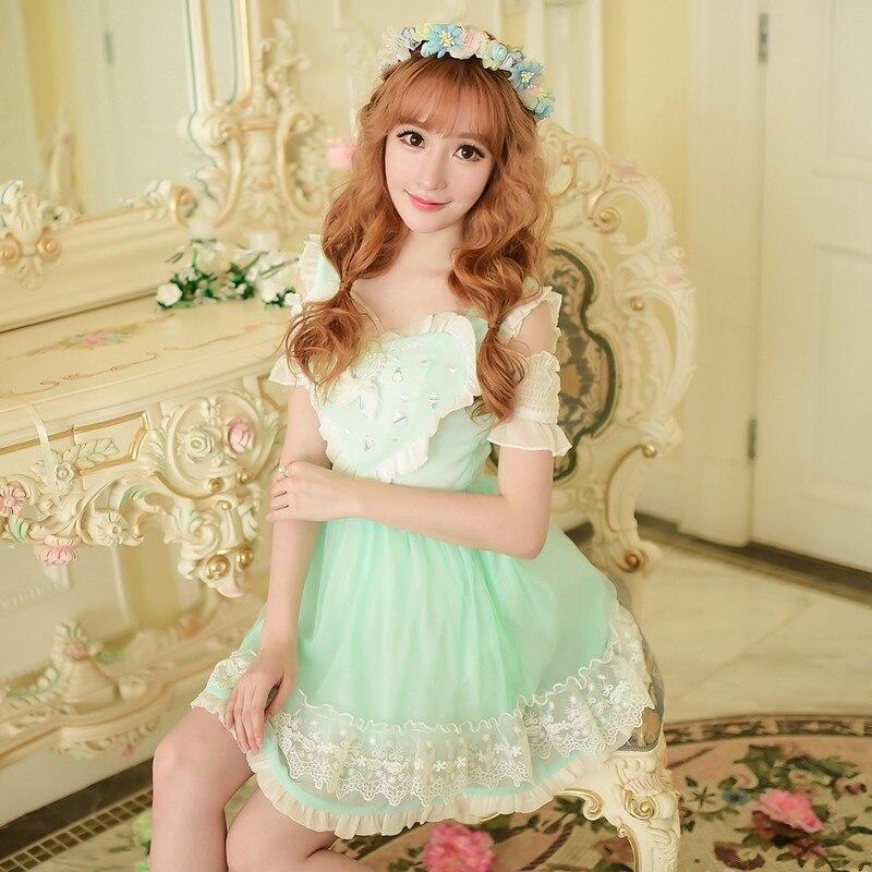 Sweet Broderie De Manches Robe C15ab5819 Courtes Mousseline Épaule Soie Style Rosée Princesse En Lolita Pluie Sucrerie Doux Japonais Amour 4dqvBvtx