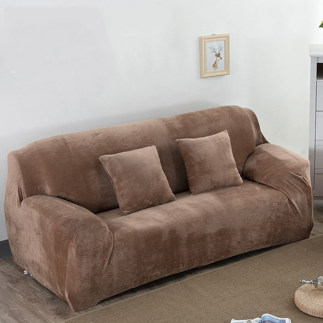 Plush Sofa Cover Stretch Cover Solid Color Sofa Covers Slipcover