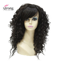 Long Spiral Curls Dark Brown High Heat Full Synthetic Wigs with Bangs