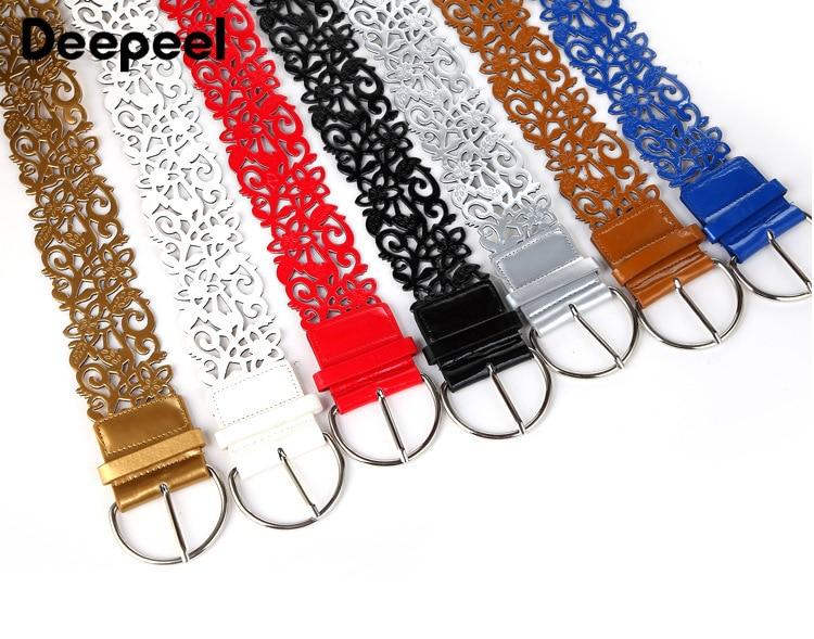 Deepeel 2pcs 7*110cm Women Fashion Cummerbunds Wild Hollow PU Belt Coat Dress Waist Decoration DIY Jeans Leather Crafts CB004