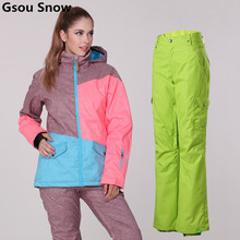 Gsou Snow Ski Suit Women Winter Snowboard Suits Waterproof Female Ski Jackets Breathbale Snow Pants -30 Degree Ski Coat