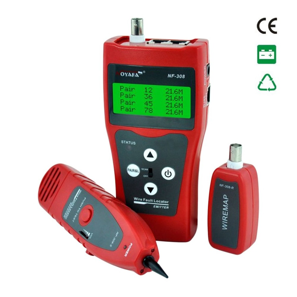 Noyafa Portable Wire Fault Locator Monitoring LCD Display Cable Tester Line Finder LAN Network Coacial BNC NF-308 free shipping noyafa nf 308 wire fault locator lan cable tester check wiring error in rj45 bnc cable