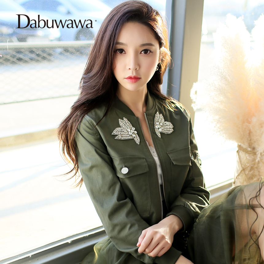 bordado chaqueta Dabuwawa coat Vintage jacket basic 2018 otoño calle 5gga8zw