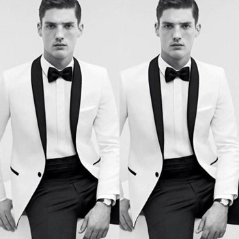 Cheap Classic Black and White Wedding Tuxedos Bestmen Groom Tuxedos Formal Suits Business Men Wear(Jacket+Pants)