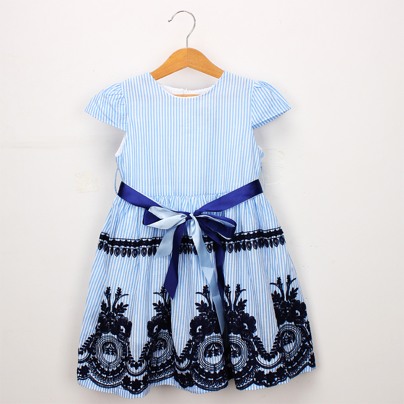 Hurave cotton infants striped embroidery baby girls clothes fly sleeve crew neck dresses Kids Clothes causal dress цена