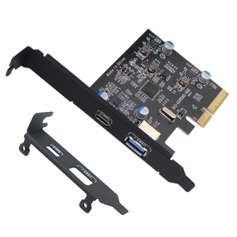 <font><b>PCI</b></font>-E <font><b>PCI</b></font> <font><b>Express</b></font> to USB 3.1 Gen2 10Gbps Hub Type A and Type C 2-Port PCIe Expansion Adapter Card For Windows 7/8/8.1/10/Linux image