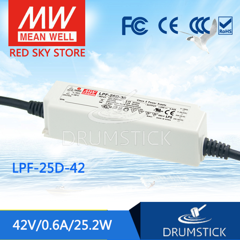 Selling Hot MEAN WELL LPF-25D-42 42V 0.6A meanwell LPF-25D 42V 25.2W Single Output LED Switching Power Supply enya eus 25d