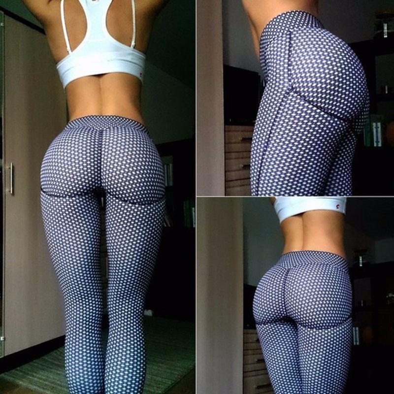 Mid Waist Gym Fitness Leggings Ladies Sport Push Up Trousers Slim Fit  Pants US