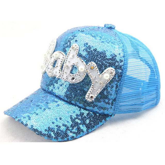 c9094f1b699 3-7 Years Adjustable Children Sparkly Sequin Baseball Caps Mesh Back  Trucker Cap with Letter Baby