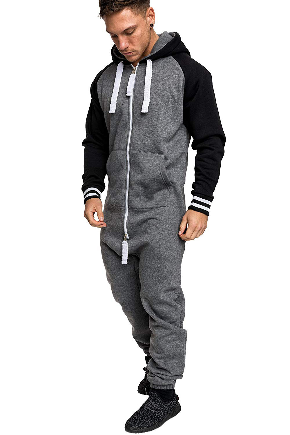 Casual Autumn Hooded Tracksuit Jumpsuit Long Pants Romper For Male Mens Fleece warm Overalls Sweatshirts Male Streetwear X9126 29