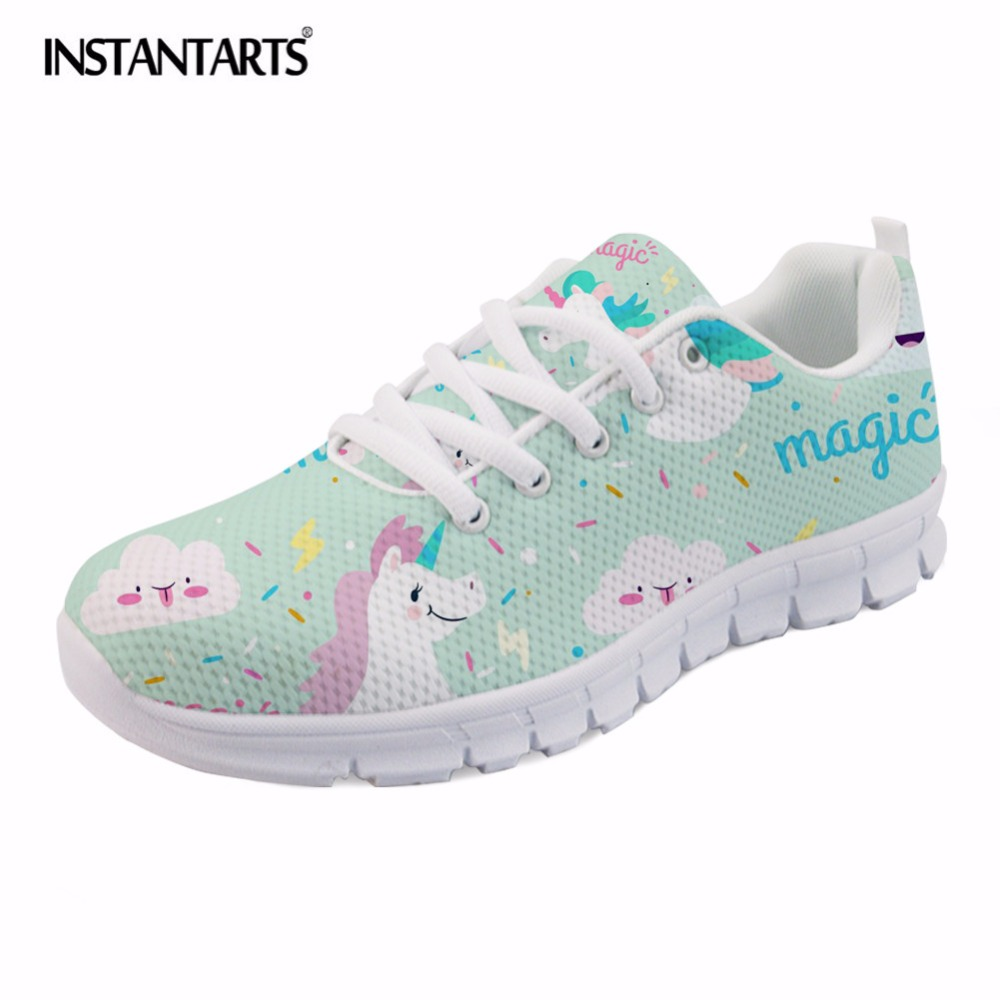 INSTANTARTS Magic Horse Women Casual Flats Brand Designer Female Fashion Sneakers Cute Cartoon Rainbow Flat Shoes Lace Up Light instantarts cute cartoon pediatrics doctor print summer mesh sneakers women casual flats super light walking female flat shoes
