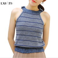 LXMSTH Spring Summer Knitting Top Sleeveless 2018 New Fashion Color Matching Hanging Neck Ladies Striped Tank Tops Slim Casual