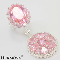 Wedding Gifts Genuine Pink Kunzite Jewelry Sets 925 Sterling Silver Pendant Ring Size 8