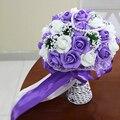 Новое Поступление Искусственные Свадебные Букеты Роз с Жемчуг Фиолетовый Красный Розовый букет де mariage Ручной Свадебный Цветок