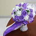 New Arrival Artificial Wedding Bouquets Rose with Pearls Purple Red Pink bouquet de mariage Handmade Wedding Flower