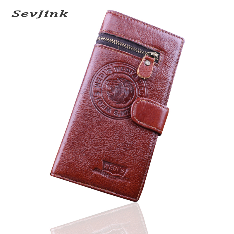 Genuine Crazy Horse Cowhide Leather Men Wallets Fashion Purse With Card Holder Vintage Long Wallet Clutch Wrist Bag crazy horse leather men wallet slim vintage genuine leather long purse cowhide bifold wallets with coin pocket and card holders