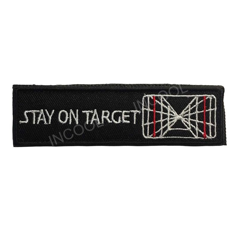 Stay on Target Embroidery Patch US Army Morale Patch Hook & Loop Fastener Military Tactical Emblem Appliques Embroidered Badges