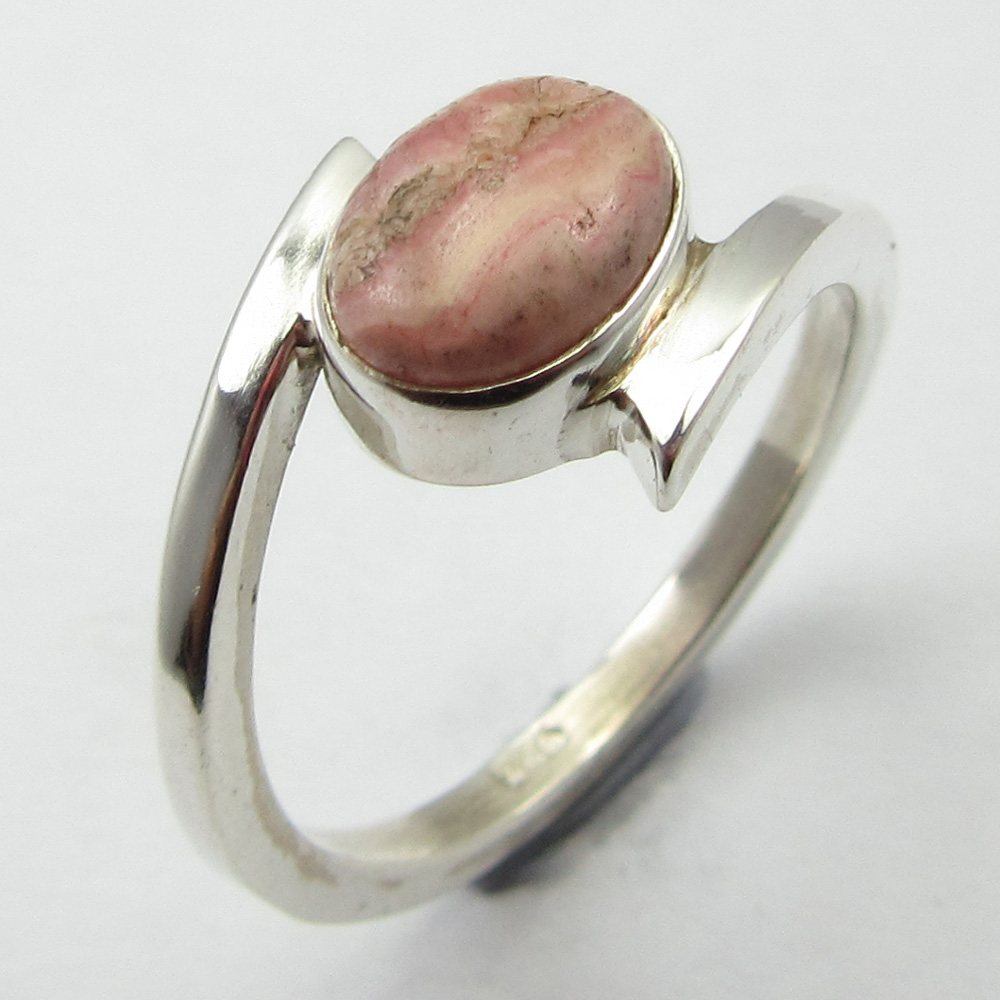 Silver Rhodochrosite Beautiful Ring Size 6 ! Cab Stone Jewelry