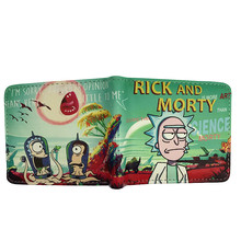 Men's Compact Leather Wallet with Funny Rick and Morty Themed Pattern