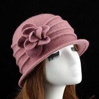 Yüksek Kaliteli 100% Yün Kova Şapka Yumuşak Kıdemli Anne Kış Açık şapka Kap Çiçek Yün Dome Beanies Kadın Şapka Gri Kırmızı Mor