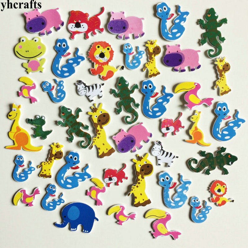 42PCS/LOT.Snake Lizard Lion Kangaroo Forest Animals Foam Stickers Baby Room Ornament Early Learning Craft Diy Toys Self Learning