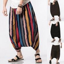 INCERUN мужские весенние летние шаровары, мужские повседневные одноцветные шаровары, свободные штаны с большим шаговым швом, мужские индийские Непальские мешковатые штаны, S-5XL