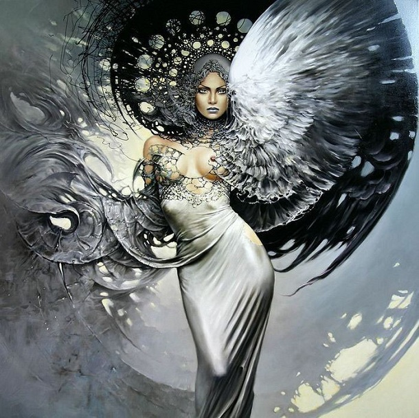 Printed Beautiful Classic Sexy Girl Angel Oil Painting -4405