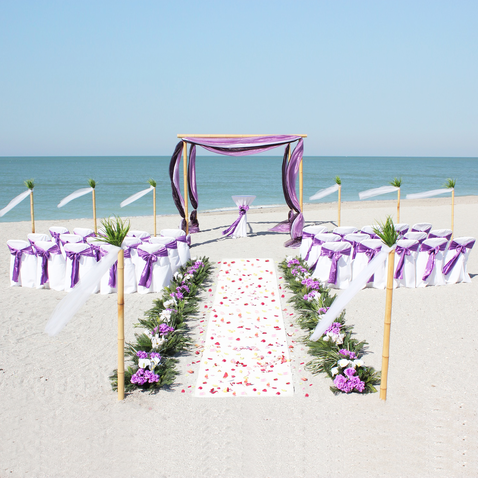 purple chair sashes for weddings cookie monster white beach theme wedding decoration backdrops