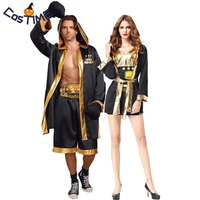 Couple Boxing Costume Adult Champion Boxer Robe Gold Belt Suits Cosplay Playing Boxing Match Uniform Carnival Halloween Cosplay