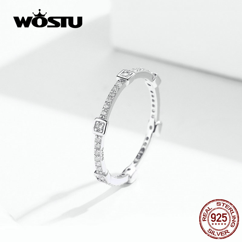 WOSTU 100% Real 925 Sterling Silver Square Wedding Rings Finger Round Zircon Fashion For Women Anniversary Jewelry Gift FIR551