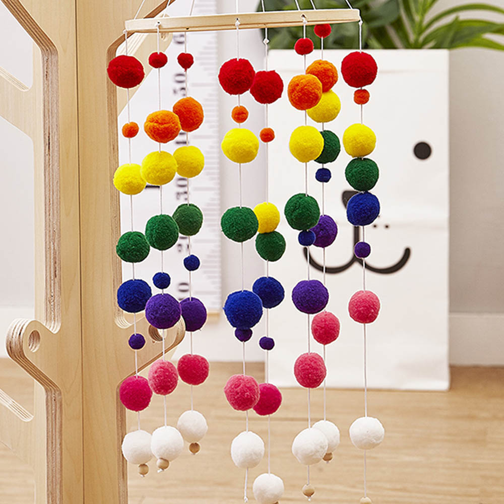 Wooden Wind Bells Toys Rattles Chimes Bell Plush Beads Chimes Toys Kids Room Bed Mobile Hanging Decor Photography Gifts