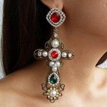 Dangle-Earrings Statement-Accessories Women Jewelry Pearls Baroque-Style Vintage Cross