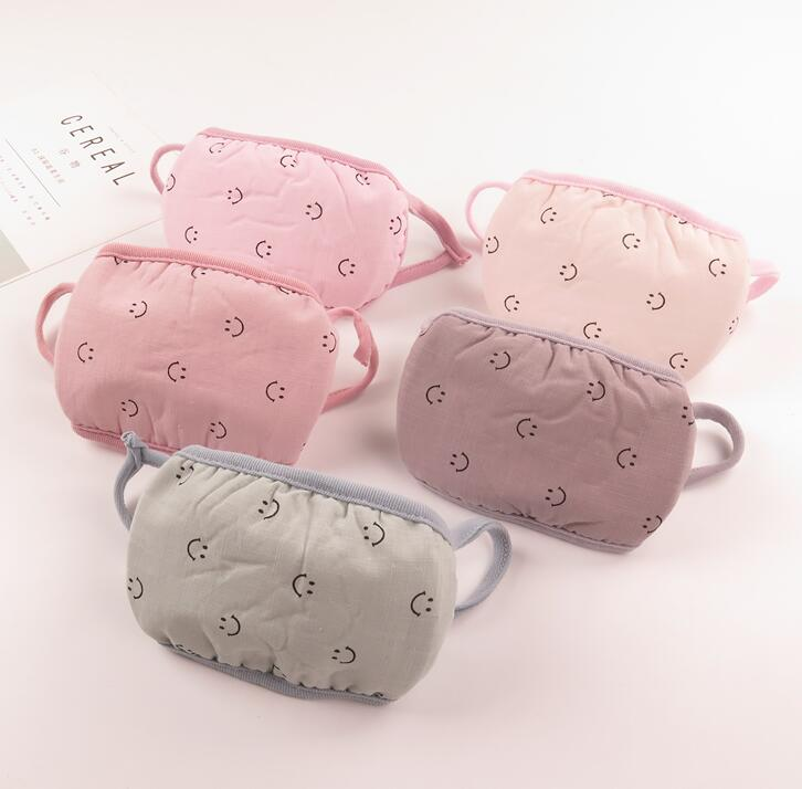 Women's Smile Face Print Mask Lady's PM 2.5 Breathable Thicken Warm Cotton Mouth-muffle R456