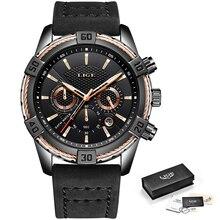 2019 Watch LIGE Mens Watches Top Brand Luxury Men Casual Leather Waterproof Chronograph Men Sport Quartz Clock Relogio Masculino