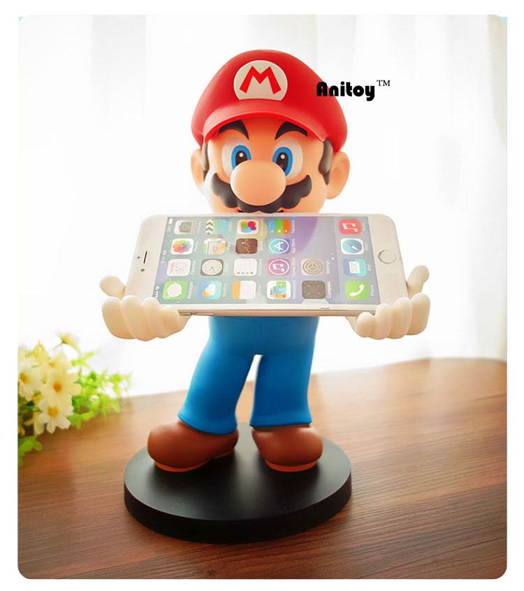Anime SuperMario 3DSPSPiphone Holder <font><b>Super</b></font> <font><b>Mario</b></font> PVC Action <font><b>Figures</b></font> Collectible Model <font><b>Toys</b></font> Gifts 30cm KT086