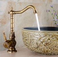 Новое поступление Высокое качество антикварной холодной и горячей Однорычажный Высокого кран для раковины ванной комнаты бассейна кран с