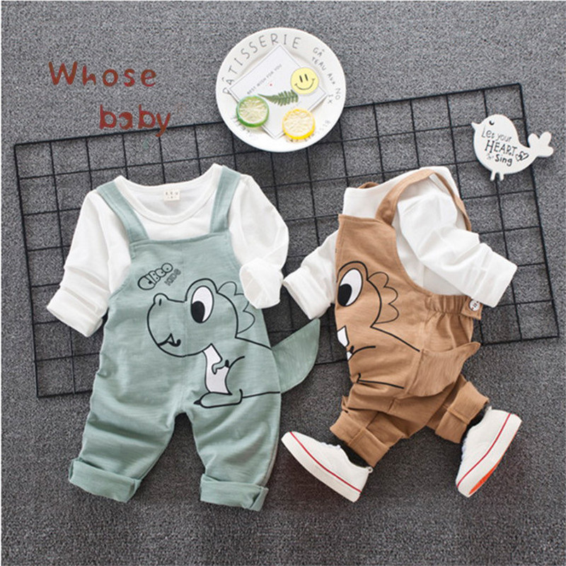 Newborn Baby Girls Clothes Sets Boy Clothing Set Cute Dinosaur Top Shirt Pant with Shoulder-straps Set for Toddle Kid Girls Boys 2017 newborn baby boy girls clothing 3pcs sets infant toddle girls romper pants hat snuggle on this muggle baby outfit set