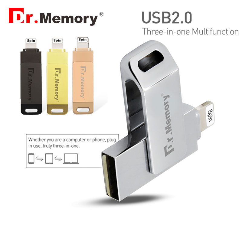 цена на Dr.Memory 2 in 1 OTG USB Flash Drive 128GB Flash Metal MFI Pen Drive 32GB For iPhone 5s/6/6s/7/ipad stick For Apple Flash Disk